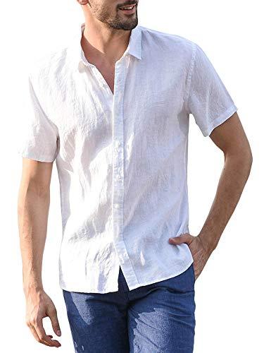 Mens Linen Shirts Short Sleeve Button Down Summer Beach Slim Fit Workout Split Shirt with Pockets (X-Large, B-White)