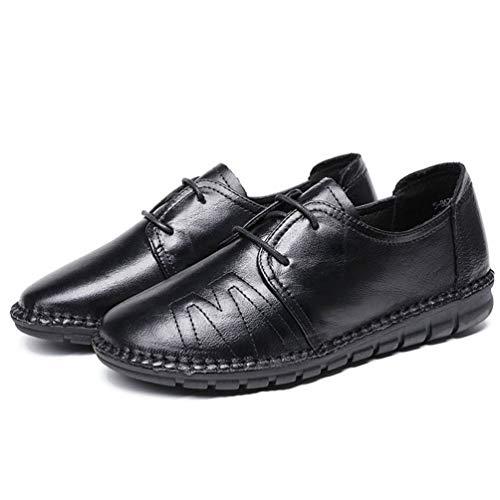 SeñOras Trabajo Costura Punta De SóLido Negro Pisos De Hechos Plano Redonda Vaca Zapatos Calzado De ConduccióN Mujer Casual Cuero Mano para A UgUOqtpw