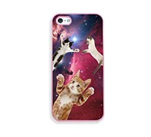 Hipster Flying Space Cats Pink Silicon Bumper iPhone 5 & 5S Case - Fits iPhone 5 & 5S