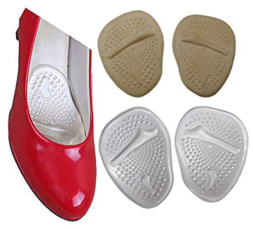Metatarsal Pads and Ball of Foot Cushions for Pain Relief,Anti-Slip Shoe Pads Inserts Gel Forefoot Insoles for Women High Heels Sandals Pumps, Relieve Metatarsal Foot Pain (Gray+Transparent)