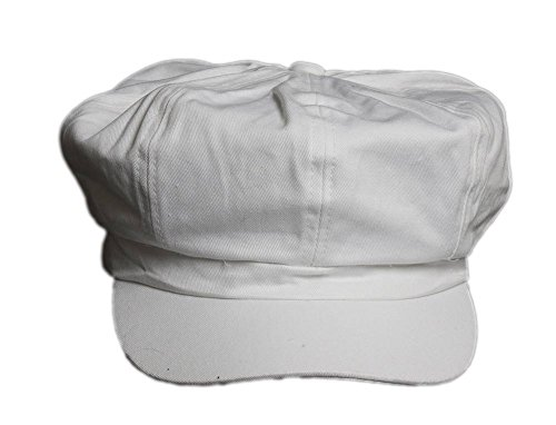 White Cotton Elastic Newsboy Caps - One size fits most ()