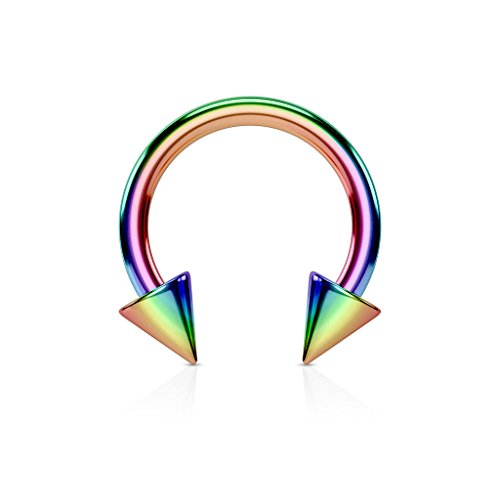 Inspiration Dezigns 8G Rainbow Captive Hoop Ring Barbell Tragus Cartilage Stud Earrings from Inspiration Dezigns