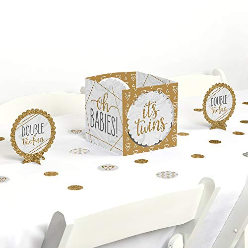 Big Dot of Happiness It's Twins - Gold Twins Baby Shower Centerpiece and Table Decoration Kit -