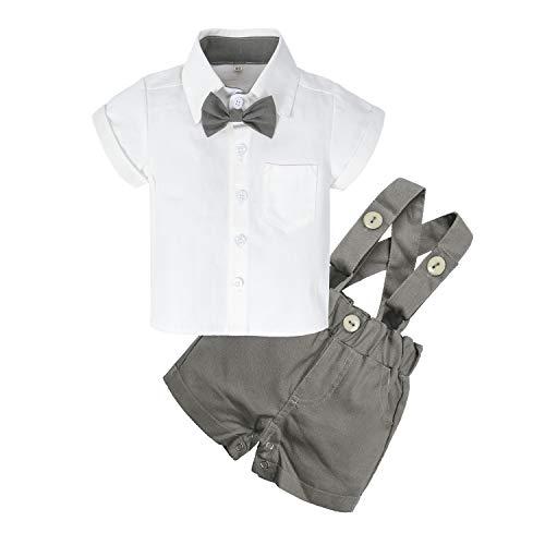BIG ELEPHANT Baby Boys'2 Piece T-Shirt Suspender Shorts Clothing Set NA42 Gray