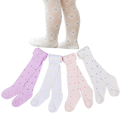 Taiycyxgan Baby Girls Cotton Tights Infant Summer Mesh Net Flowers Leggings Stocking 4-Pack 12-24M
