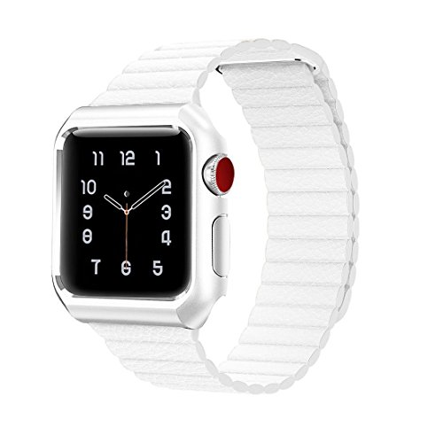 LazyOdd For Apple Watch Band Leather Loop with Metal Protective Case Genuine Leather iWatch Strap with Magnetic Closure Clasp Mesh for Apple Watch Series 1/2 Sport Anti-scratch (38mm White) by LazyOdd