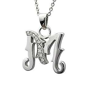 Men's Sterling Silver Alphabet Initial Letter M White ...