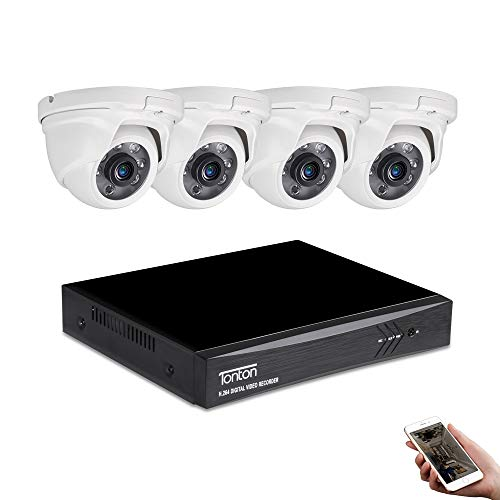 Tonton 8CH Full HD 1080P Expandable Security Camera System, 5-in-1 Surveillance DVR and (4) 2.0MP Waterproof Outdoor Indoor Dome Camera, Free APP Remote Viewing and Email Alert(NO HDD Included)