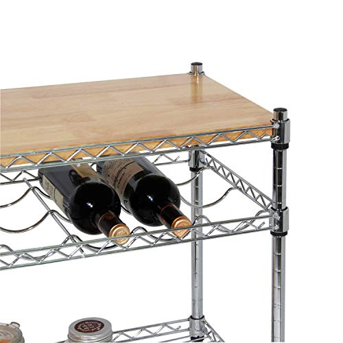soges Premium Kitchen Rack with Solid Wood Cutting Board, Rolling Kitchen Storage Cart, Bar Serving Trolley Wine Rack, Moving Units for Home, Kitchen, Bathroom, Stainless Steel KS-ZSCS-04 by soges (Image #5)