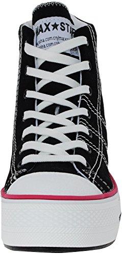 Insole Shoes 3Line Canvas Maxstar C2 Taller Black High Sneakers top Zipper FwxwpzqBnC