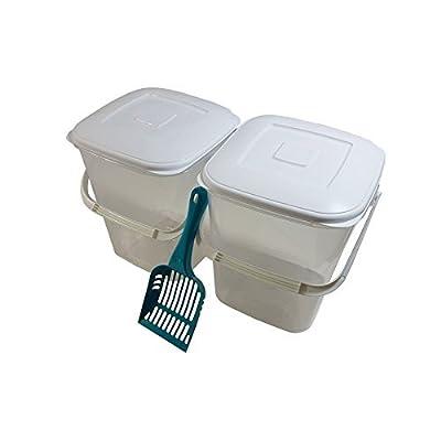 2 x 10L Nourriture pour animaux domestiques Boîte de rangement & 1 x Bleu Sarcelle Cuillère sans BPA pot en plastique avec couvercle et poignée