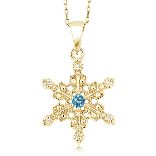 Gem Stone King 18K Yellow Gold Plated Silver Diamond Accent Snowflake Pendant Swiss Blue Topaz (0.13 cttw, with 18 Inch -