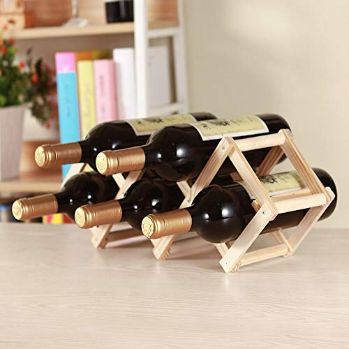 TENZEPS Tabletop Wine Rack Real Wood Folding Wine Bottle Storage Rack Wall Home Decor Creativity Burlywood (5 Bottles of Suit)