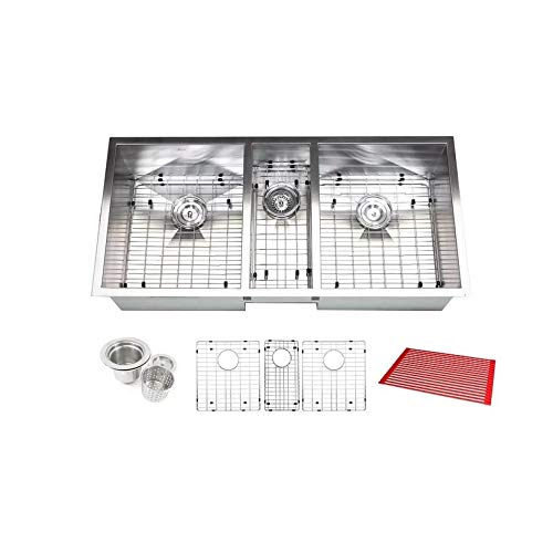 Contempo Living Inc Triple Bowl 42-inch Stainless Steel Undermount Zero Radius Kitchen Sink (16 Gauge Combo) - Stainless Steel