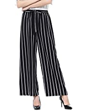 Surfiiy - Pantalones de Mujer con Corte de Palacio - Bolsa de Papel - Pantalones con cinturón para la Oficina - Pantalones Sueltos con Rayas