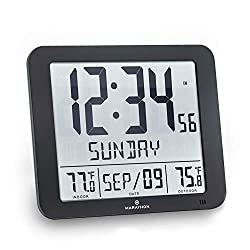 Marathon CL030027-FD-BK Slim Atomic Wall Clock with Full Calendar and Large Display and Indoor/Outdoor Temperature (New Full Display, Color: Black)