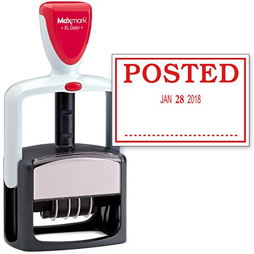 Self 2000 Plus Inking (2000 Plus Heavy Duty Style Date Stamp with Posted self Inking Stamp - Red Ink)