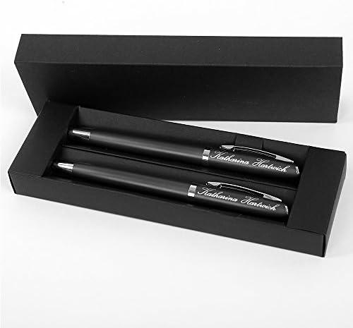 polar-effekt Kugelschreiber Alphabet Schreibset mit Gravur - Farbe grau - Drehkugelschreiber und Rollerball schwarzschreibend - mit Geschenk-Etui