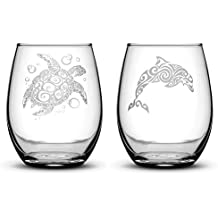 Premium Stemless Wine Glasses, Set of 2, Sea Turtle and Dolphin, Hand Etched 14.2oz Stemless Gifts, Made in USA, Sand Carved by Integrity Bottles
