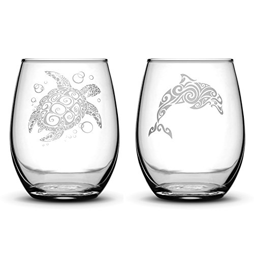 Integrity Bottles Premium Stemless Wine Glasses, Set of 2, Sea Turtle and Dolphin, Hand Etched 14.2oz Stemless Gifts, Made in USA, Sand Carved