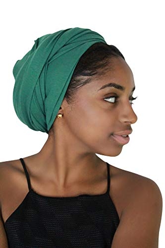Rayna Josephine Stretch Head Wrap - Long Solid Color Turban Hair Scarf Tie (Green Quartz)