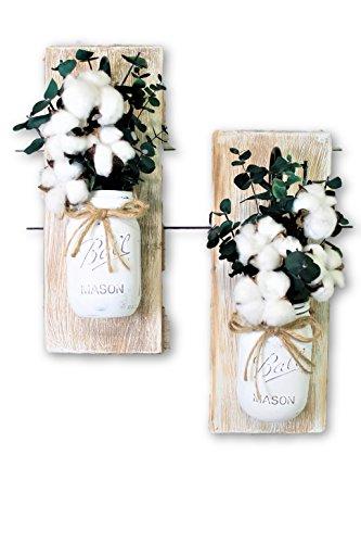 Floral Sconce (Set of 2 Cotton Pickin Blessed Mason Jar Wall Sconces Floral Arrangement)