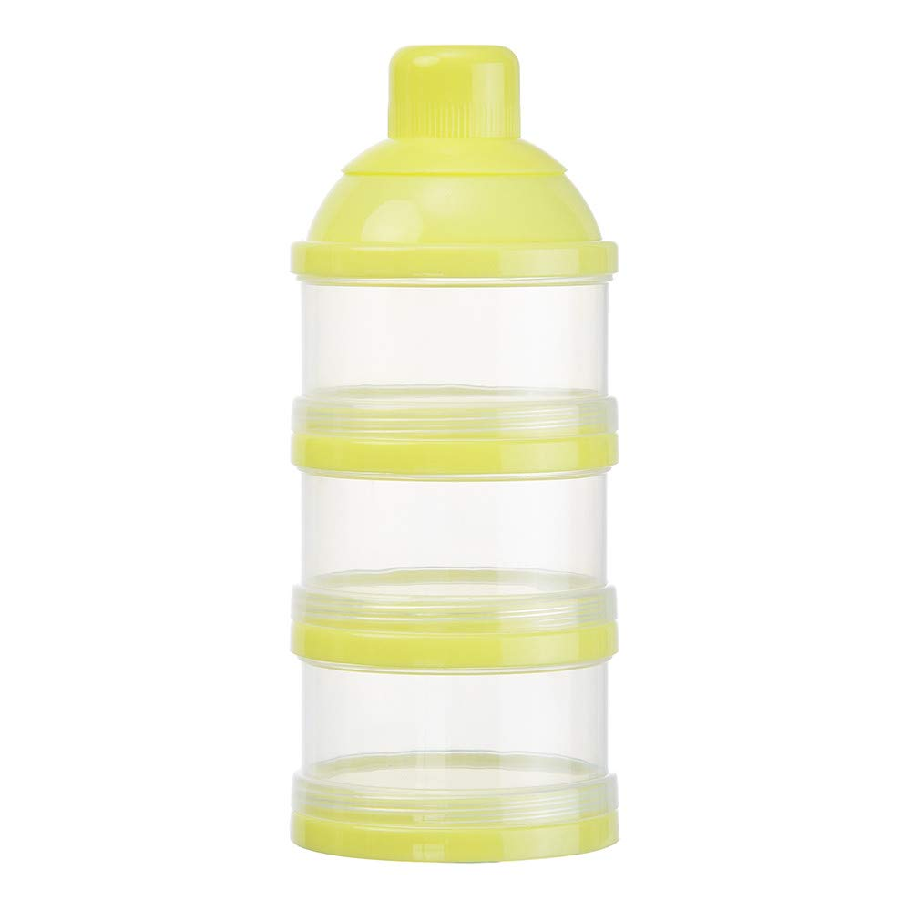 Lumumi Baby Milk Powder Formual Dispenser, Non-Spill Smart Stackable Baby Feeding Travel Storage Container, BPA Free, 3 Compartments (Yellow)