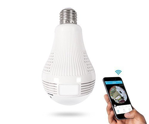 Wifi Hidden Camera LED Bulb Light 360-Degree Fisheye Panoramic Network Wireless Home Security 960P IP Camera White, Home Security System Pet Monitor&Baby Camera,Two Way Talking,Motion