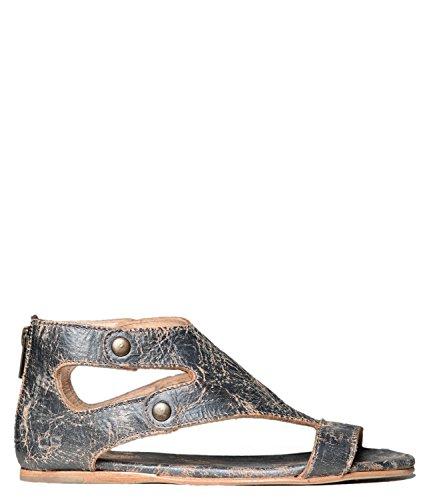 Bed|Stu Women's Soto Leather Flat Sandal (9 B(M) US, Silver Lux)