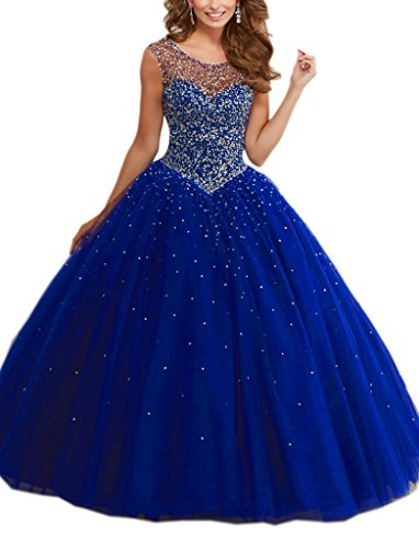 Mollybridal Princess Designer Prom Quinceanera Dress for Girls Ball Gown Sweet 16 Party Dress Tulle Royal Blue 4