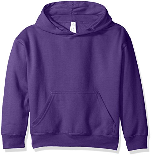 Clementine Apparel Big Girls (7-16) Youth Hooded Pullover Sweatshirt with Pouch Pocket, Purple, M