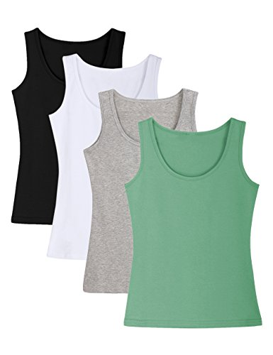 ADAMARIS Cotton Camisoles for Women Tank Tops for Women Pack Camis Vest ,Regular-833-black / White / Gray / Bean Green,Large / US (Cotton Petite Tank Top)