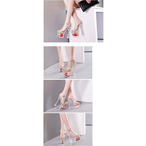 SHEO sandalias de tacón alto Señora sandalias cristalinas impermeables transparentes de la tabla de las sandalias de tacón alto del 18CM Claro
