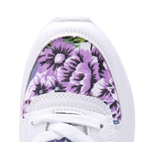 Schuhtempel24 Damen Schuhe Low Sneaker Flach Blumenapplikation Weiß