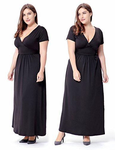 MODETREND Mujer Vestido Casual Tallas Grandes Verano de Manga Corta Deep V-Neck Vestidos de Fiesta Largos de Noche Negro