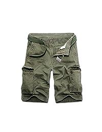 Bmeigo Mens Casual Relaxed Fit Solid Pocket Cargo Shorts -E02