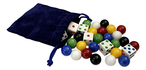 AmishToyBox.com Game Bag of 24 Glass Marbles (16mm diameter) and 6 Dice for Aggravation Game