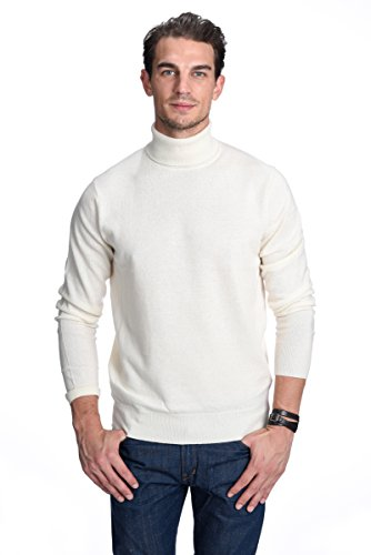 (State Cashmere Men's 100% Pure Cashmere Turtleneck Long Sleeve Pullover Sweater (Small, White))