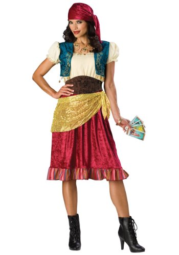 [InCharacter Costumes, LLC Women's Gypsy Costume, Red/Gold/Brown, Small] (Gypsy Costume Head Scarf)