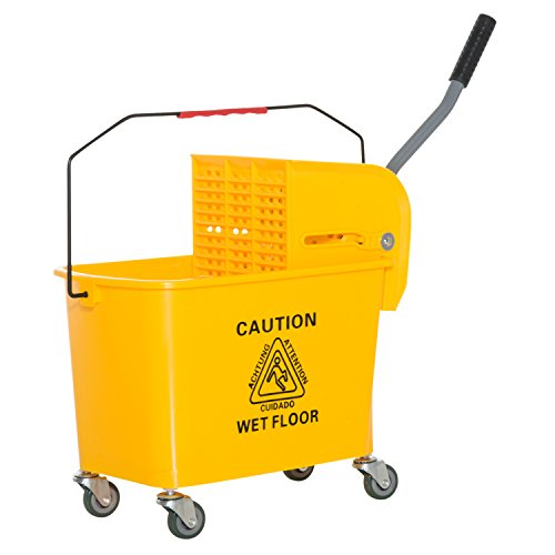 Down Press Wringer - HOMCOM 5 Gallon Janitor Mop Bucket w/Down Press Wringer