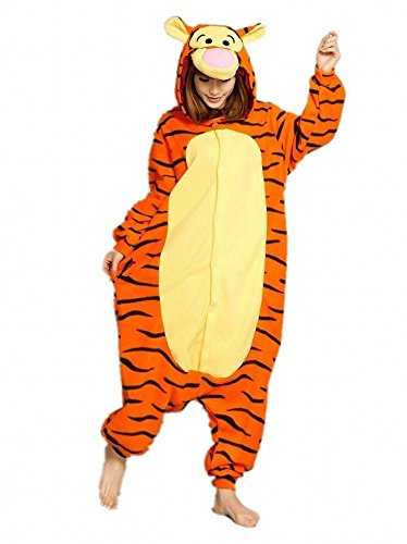 Sweetdresses Adult Unisex Animal Sleepsuit Kigurumi Cosplay Costume Pajamas (Small, Tigger)]()