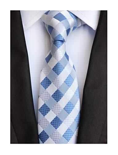 Mens Stripes College Light Blue White Silk Ties Jacquard Gentlemen Necktie Gifts