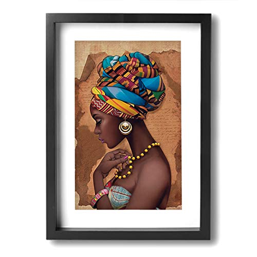 Okoart Canvas Wall Art Prints African Yellow Ethnic Necklace Picture Paintings Contemporary Decorative Artwork for Living Room Wall Decor and Home Decor Framed Ready to Hang 9x13inch