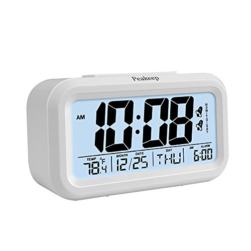 Peakeep Digital Alarm Clock with 2 Alarms for Optional Weekday Mode, Snooze, Smart Night Light, Battery Operated Only (White)