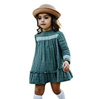 TIFENNY Toddler Kids Long Pullover Dress Baby Girls Long Sleeve Solid Lace Ruffle Princess Dress Clothes Crewneck Tops Green