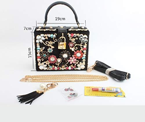 Rosa cm rossa Chain Mini Diagonal Ladies Trapano Borsa Wjp Banquet Bridal Shoulder Rosa Box Bag wA66aO7x
