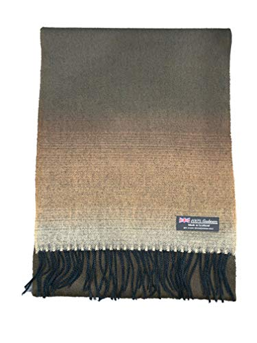 2 PLY 100% Cashmere Scarf Elegant Collection Made in Scotland Wool Solid Plaid Men Women (Brown Fade) ()
