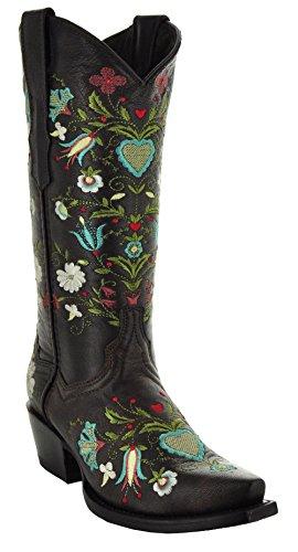 Soto Boots Wildflower Women's Cowgirl Boots M50030 (5.5) Dark Brown