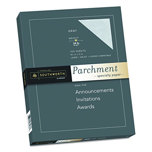 Southworth Colors + Textures Fine Parchment Paper, 24#, 8.5 x 11 Inches, Gray, 100 per Pack (P974CK) (Southworth Parchment Paper Company)