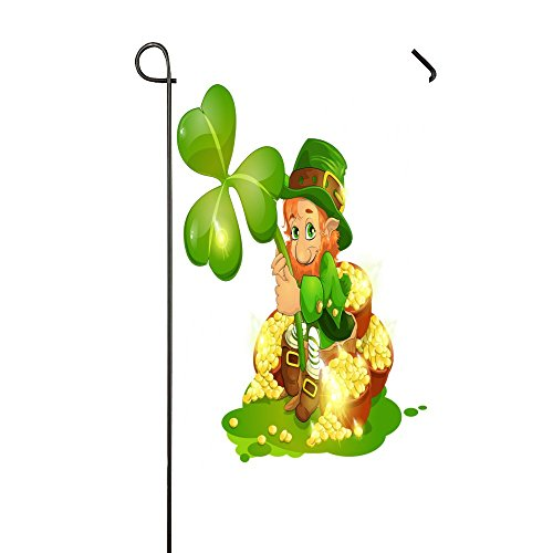 Lily Garden Flag (St. Patrick's Day Gold Coins Lucky Clovers 12.5x18 Inch Garden Flag House Flag - Double Sided Decorative Outdoor Flag)